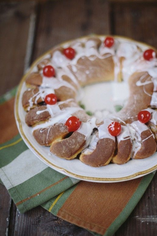 Betty Crocker's Swedish Tea Ring. Family tradition for Christmas morning, and sharing with friends. Looks like a festive wreath. The hole in the center is perfect for a pillar candle for Baby Jesus' birthday.  Make the kids sing Happy Birthday and snap a pic as they blow out the candle.