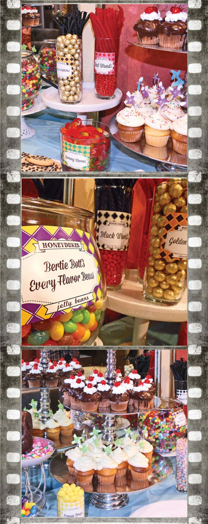 Honeydukes dessert bar for our Harry Potter Party at Mojo Spa! See more behind the scenes
