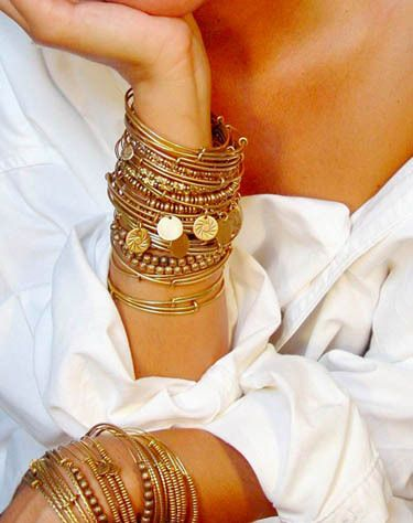 bracciali. gold bracelets and bangles. jewelry. women's fashion. accessories. boho.