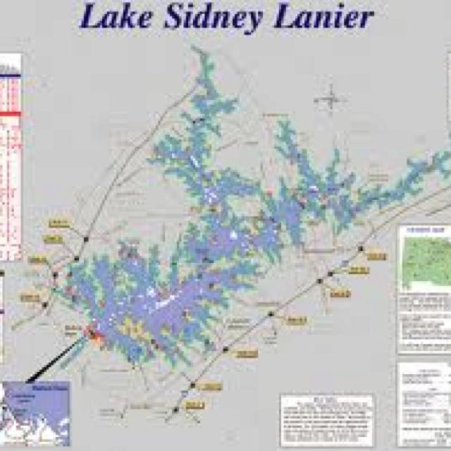Lake lanier map lanier for Lake lanier fishing
