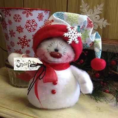 "примитивный RAGGEDY Рождественский снеговик кукла зима снег полка Sitter 6,5 """