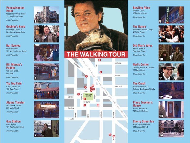 You can walk all of the movie locales for the movie Groundhog day in Woodstock Illinois!