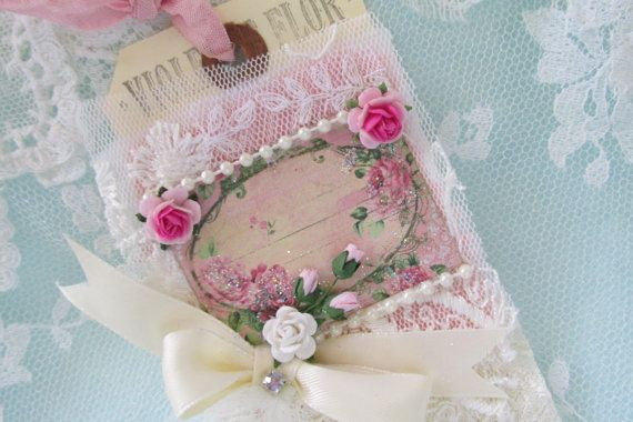 Wedding Gift Tag Vintage Rose Lace Collage Tag Mixed Media Art Tag French Gift Tag
