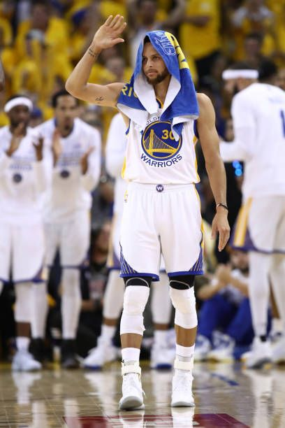 Stephen Curry of the Golden State Warriors reacts against the Cleveland Cavaliers in Game 5 of the 2017 NBA Finals at ORACLE Arena on June 12 2017 in...