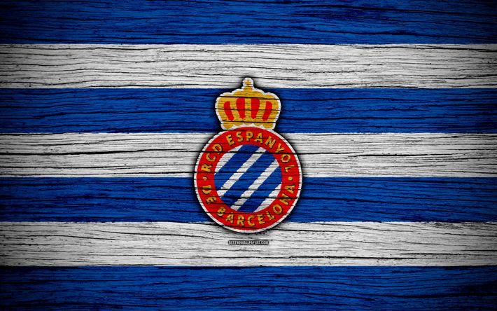 Download wallpapers FC Espanyol, 4k, Spain, LaLiga, wooden texture, soccer, Espanyol, football club, La Liga, Espanyol FC