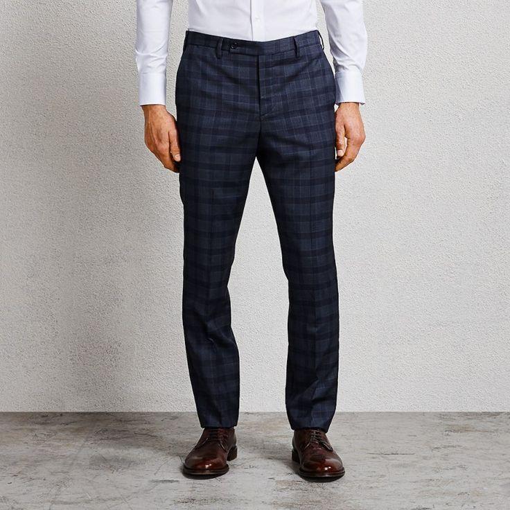 Flemming Slate Blue Check Pant #suit #bluesuit #bluechecksuit #bluesuitpants #checksuit #aquila