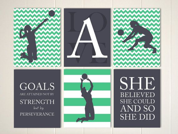 volleyball wall art girl volleyball player volleyball room decor girls quote art motivational girls artset of 6 - Volleyball Bedroom Decor