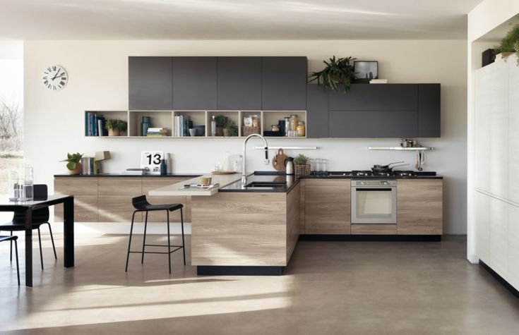 Photos Of Kitchens With Black Cabinets And Wooden Details Avec
