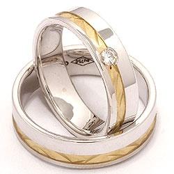 2 gifteringer i 14 karat gull og hvitt gull 0,070 ct