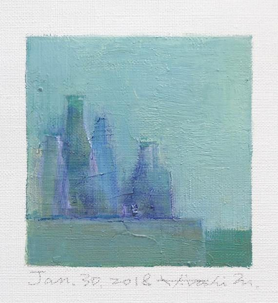 Jan. 30 2018 Original Abstract Oil Painting 9x9 painting