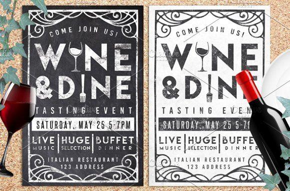 Wine & Dine Event Chalk Flyer Invite by Lucion Creative on @creativemarket