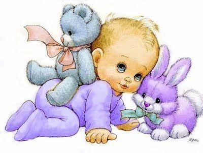 BABY, TEDDY BEAR AND BUNNY
