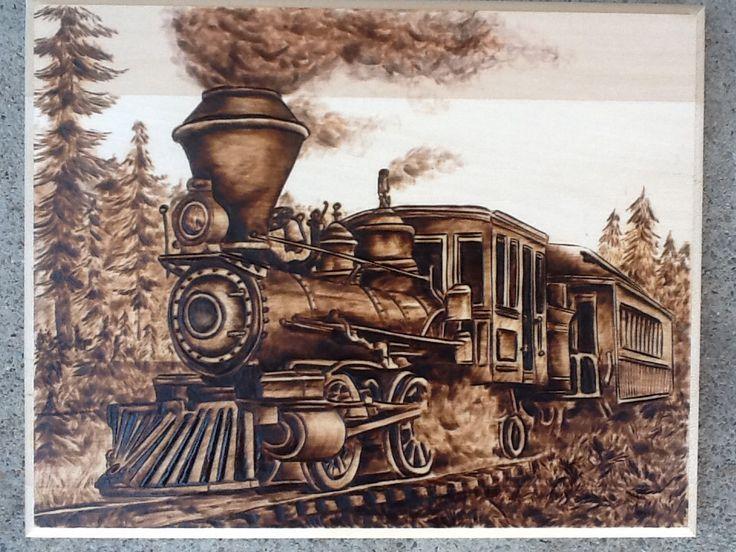 train wood burn art pinterest gravur und brandmalerei. Black Bedroom Furniture Sets. Home Design Ideas