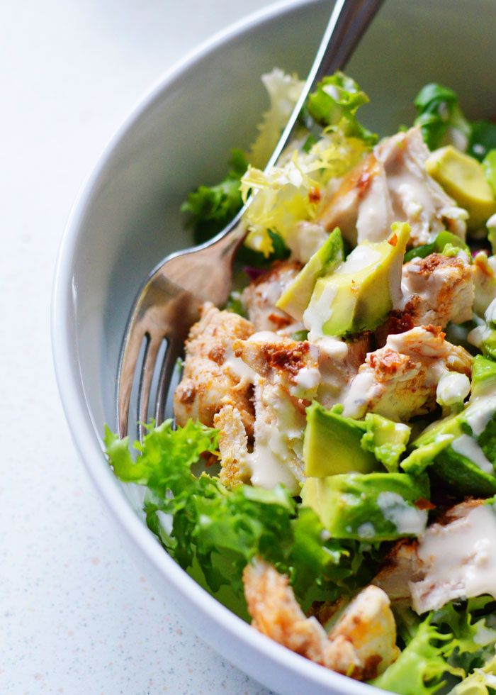 Quick and Easy Eats: Harissa Chicken Salad with Avocado and Lemon Tahini Dressing