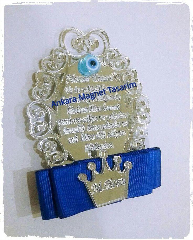 nazar duası pleksi magnet
