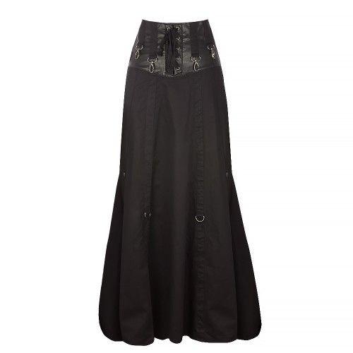 Long Black Steampunk Skirt