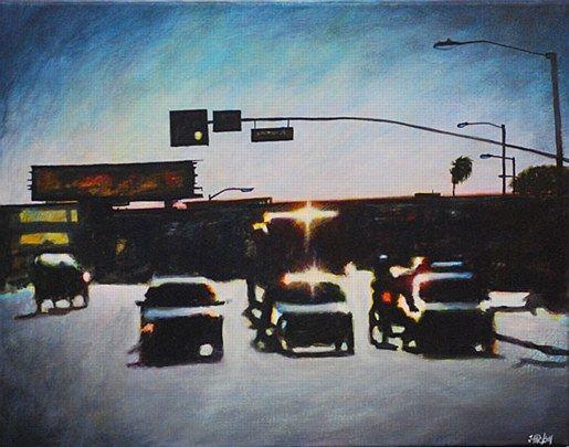 Joby Hickey- Sunset L.A Traffic #JobyHickey #art #artist #irishartist #dublin dublinstreets #irishart #painting #dublin #photorealism #edwardhopper #jobyhickey #dukestreetgallery #lensflare #LA #losangles #traffic #trafficlights