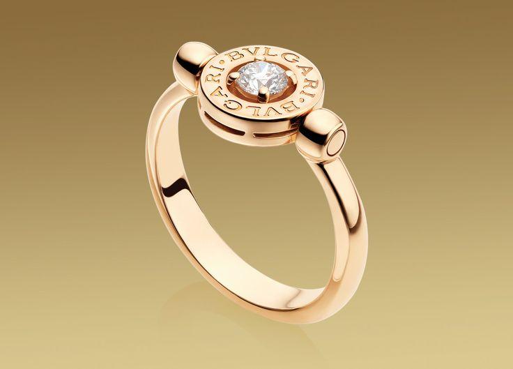 Bulgari Bulgari flip ring in 18 kt pink gold with 0,25 ct diamond. Ref.AN853336