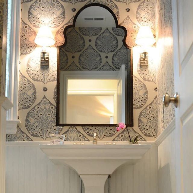 Tiny powder room with large scale Galbraith & Paul Lotus Smoke wallpaper