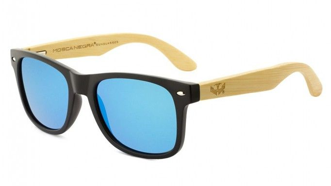 Gafas de madera Mix - Solid Black and Ice Blue - Polarized