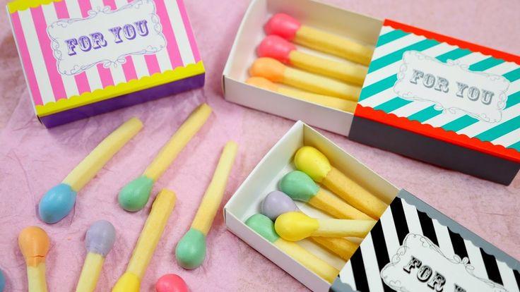 Pastel Matchstick Cookies 春色パステルマッチ棒クッキー 頭薬は焼きメレンゲ マッチ一本火事の元