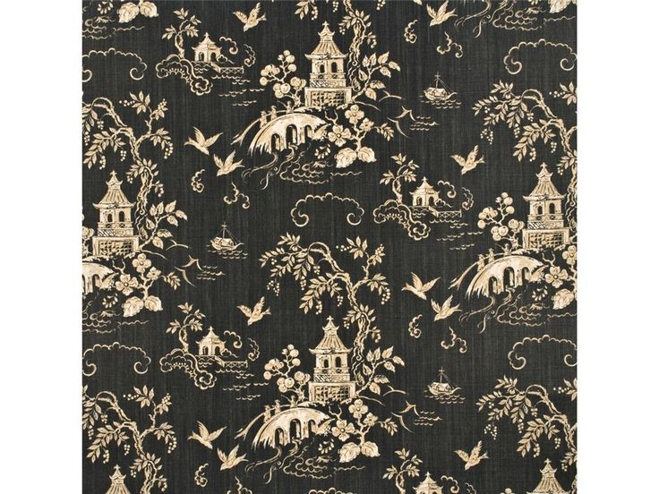 Lee Jofa Kravet Chinoiserie Asian Pagodas Linen Toile