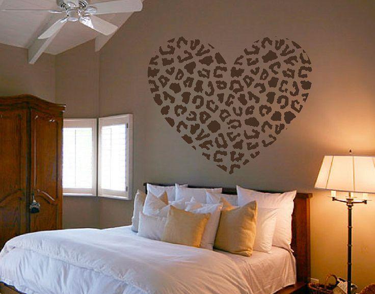 Cheetah Spot Heart Vinyl Wall Decal Sticker Cheetah Print