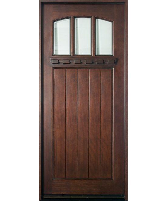 entry door in stock single solid wood with dark mahogany