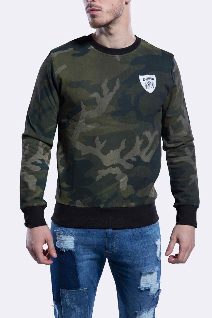 Sweatshirt Camouflage urban army à col rond en molleton Style Militaire Bande strap noire sur le bas et les poignets. Achetez le et Stylez vous !
