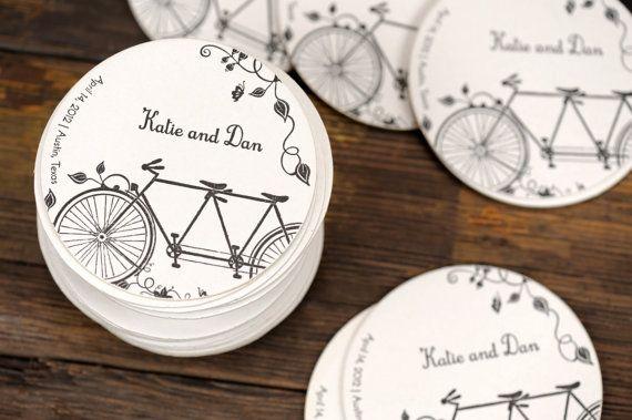 Hochzeit Letterpress Untersetzer Tandem Fahrrad von ruffhouseart