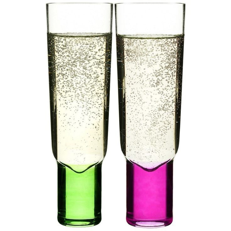 Perefct toasting champagne glasses in pink and green for fun, fizz & celebrating!