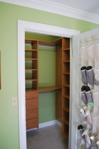 small closet ideas....love the idea of creating shelves and double hanging apace but would tweak this plan to a more functional design.