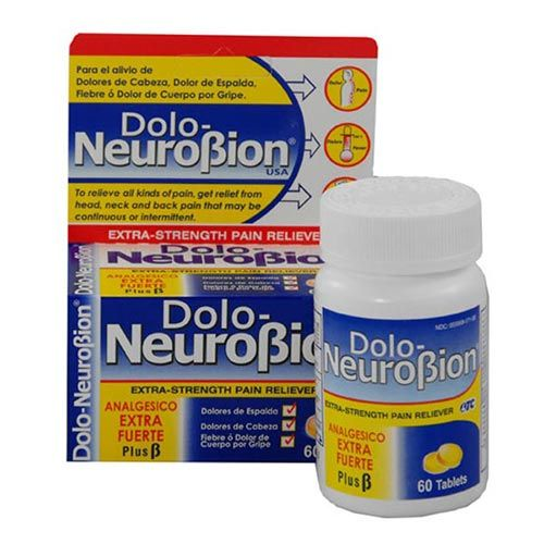 Dolo NeuroBion (60 tablets)  A pain reliever (like advil with  vitamins, B1, B6, B12) and paracetamol . Dolo-neurobion is a non-narcotic analgesic which has plenty of vitamin supplements. It is an anti-inflammatory.