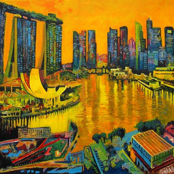 Marina Bay by Ulpiano Carrasco Mixed on Canvas 100 x 100 cm AVAILABLE