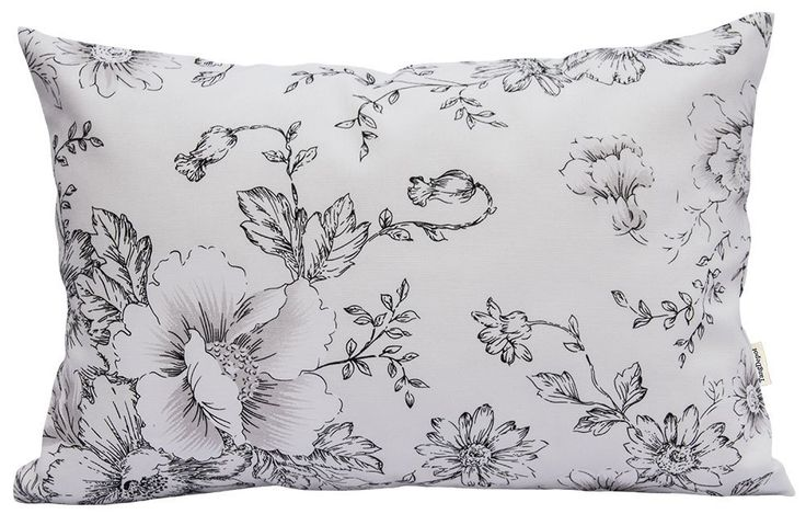 """TangDepot174; 100% Cotton Floral/Flower Printcloth Decorative Throw Pillow Covers /Handmade Pillow Shams - Many Colors, Sizes Avaliable - (12""""x18"""", S29 Black Flowers)"""