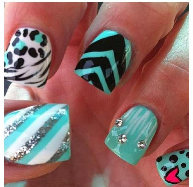 black and aqua chevron with animal print