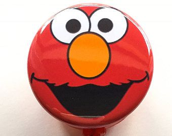 """1-1/2"""" Red Elmo Face Inspired ID Name Badge reel"""