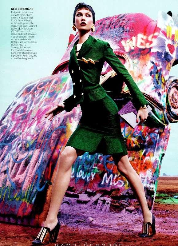 Jewel-Toned Graffiti Shoots - Karlie Kloss Rocks Fierce Textures for a Vogue US March 2012 Editorial (GALLERY)