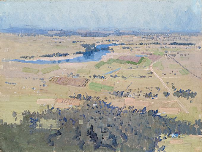 "In 1806 Joseph Baylis sold his land at Castlereagh to Andrew Thompson. ""Study for Nepean River Landscape"" c.1922, oil on canvas board, 31.5cm x 42cm by Elioth Gruner."