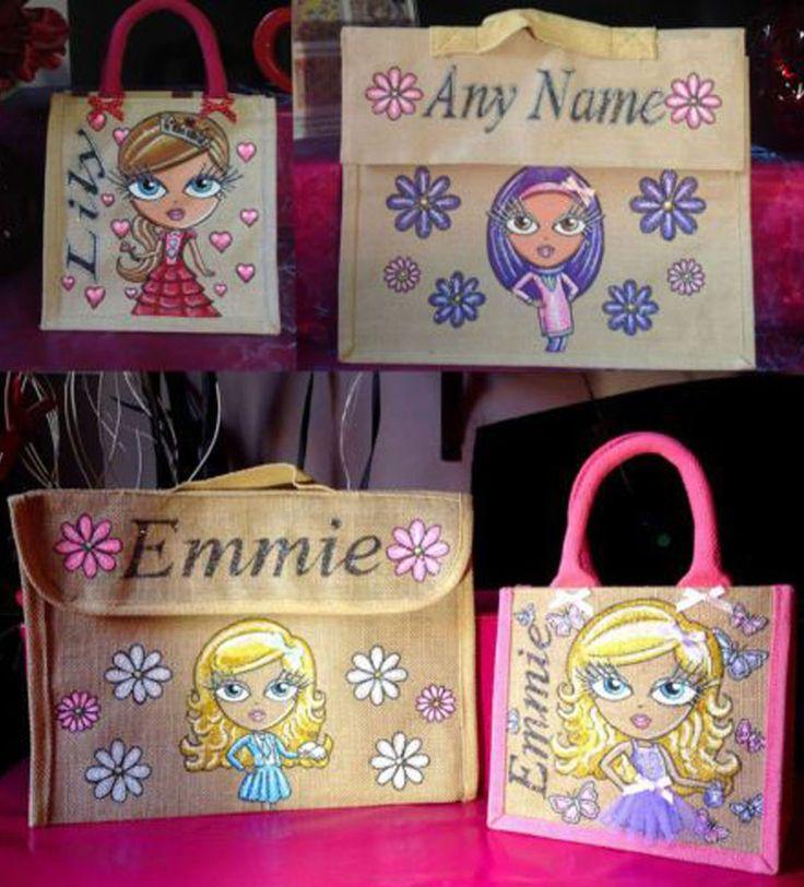 Glitterglamz School Range Personalised Jute Lunch Bags Book Bag Hand Painted