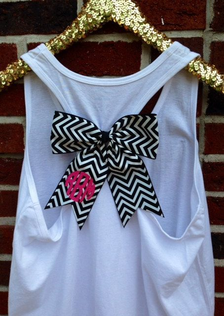 BOW Embroidered Racerback Tank Top with by RobynBobbinMonograms, $23.00