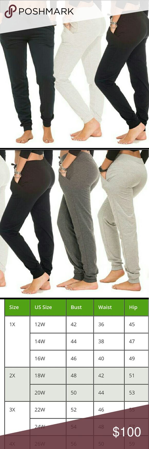 🌻FINAL PRICE🌻 5 pack-Coco Limon joggers Brand new Women's jogger pants Colors are: grey, black, charcoal, navy & heather None of them have been worn These are plus size-3x-see size chart All measurments are in inches Multiple colors 2 have been opened for a showing-again, never worn Soft cotton poly blend Elastic waist & cuffed ankles Ribbed pockets 55% cotton & 45% polyester Same/next day shipping  All low ball offers will be declined Coco Limon Pants Track Pants & Joggers