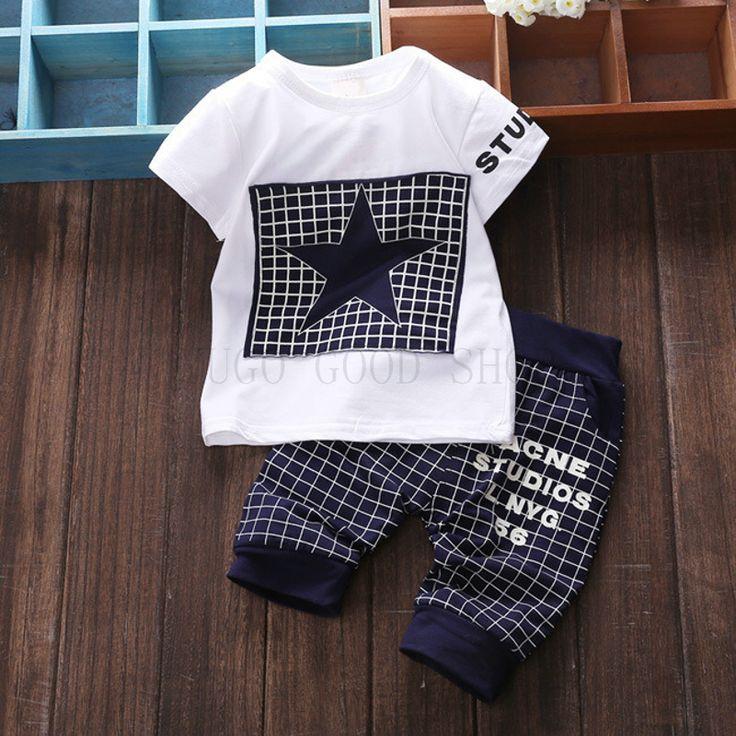 Nuevos muchachos de los niños que arropan deportes estrella ropa de rejilla para impresión de la ESTRELLA boy sets de tejer camiseta + Pantalones Medias Bebé conjunto