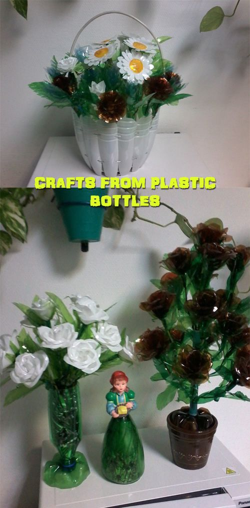 Crafts from plastic bottles recycle pinterest crafts for Craft items made from plastic bottles