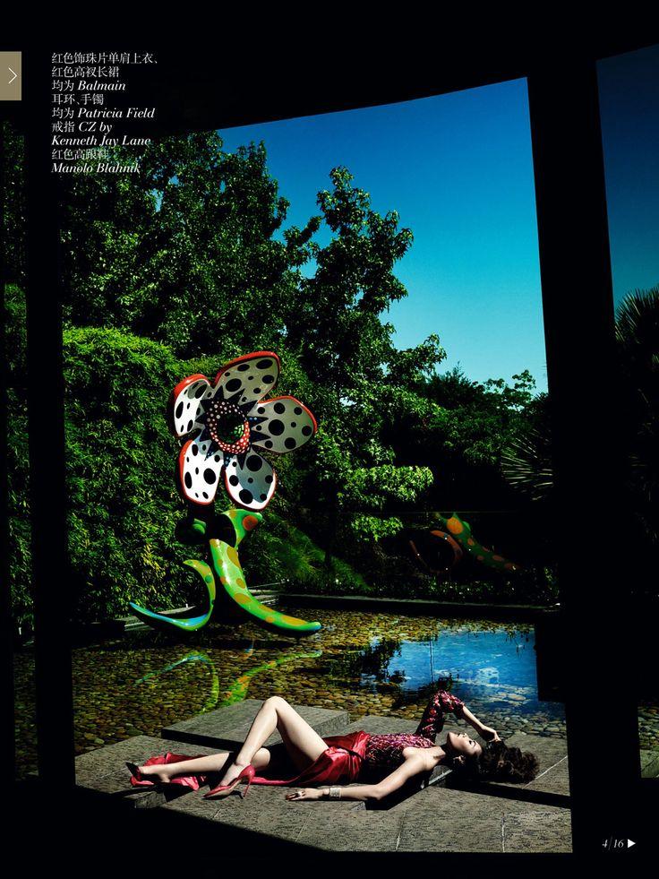 """Savage Grace""   Model: Liu Wen, Photographer: Mario Testino, Vogue China, December 2013"