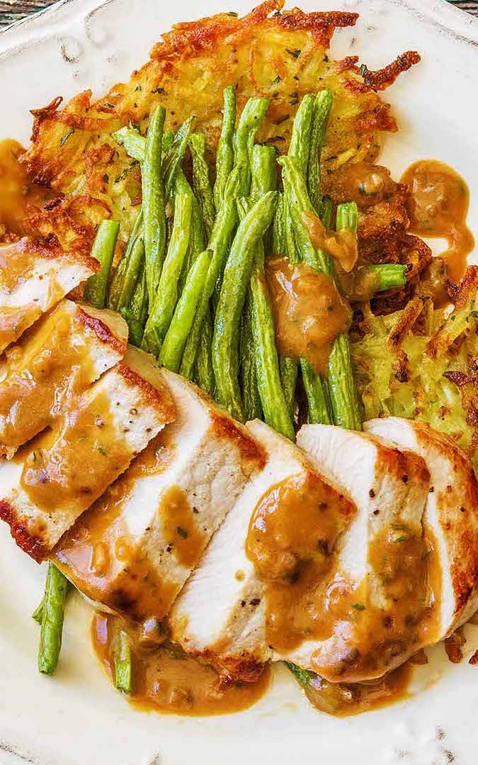 """Mustard pork with potato latkes and sauteed green beans 