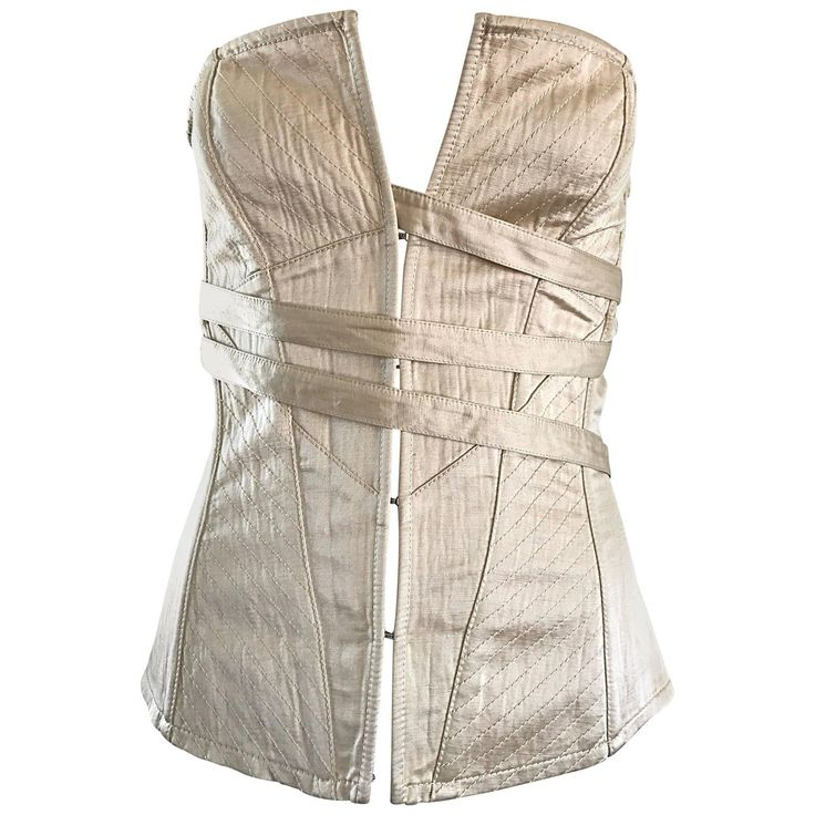 NWT La Perla 1990s Champagne Silk Vintage 90s Quilted Bustier Corset Top | From a collection of rare vintage shirts at https://www.1stdibs.com/fashion/clothing/shirts/