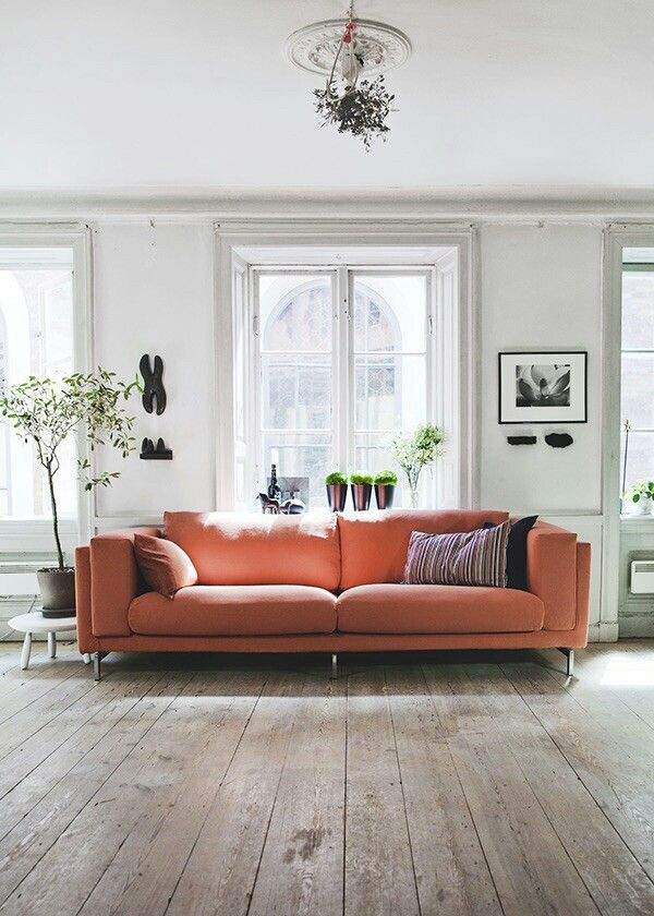 Coral couch via my unfinished home pantone blooming dahlia coral peach salmon pink