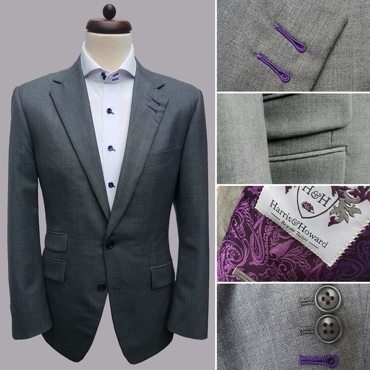 You can't go wrong with a traditional grey or navy suit. If you want to try something new but keep that classic look, add a splash of colour such as this suit with purple accent.  #accent #suit #jacket #purple #traditional #professional #splash #luxury #brand #classic #design #gentleman #texas #usa #england #uk #cheshire #manchester #london #alderleyedge #tie #wedding #weather #tweed #houston #march #fun #tailors #tailoring #bespoke