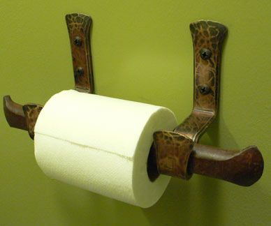 Blacksmith : Custom Designed Toilet Roll Holder : Hand Forged Steel and Bronze